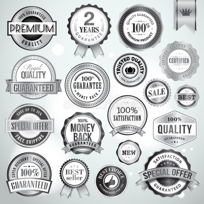 Sistema de insignias y de etiquetas engomadas de plata de lujo libre illustration