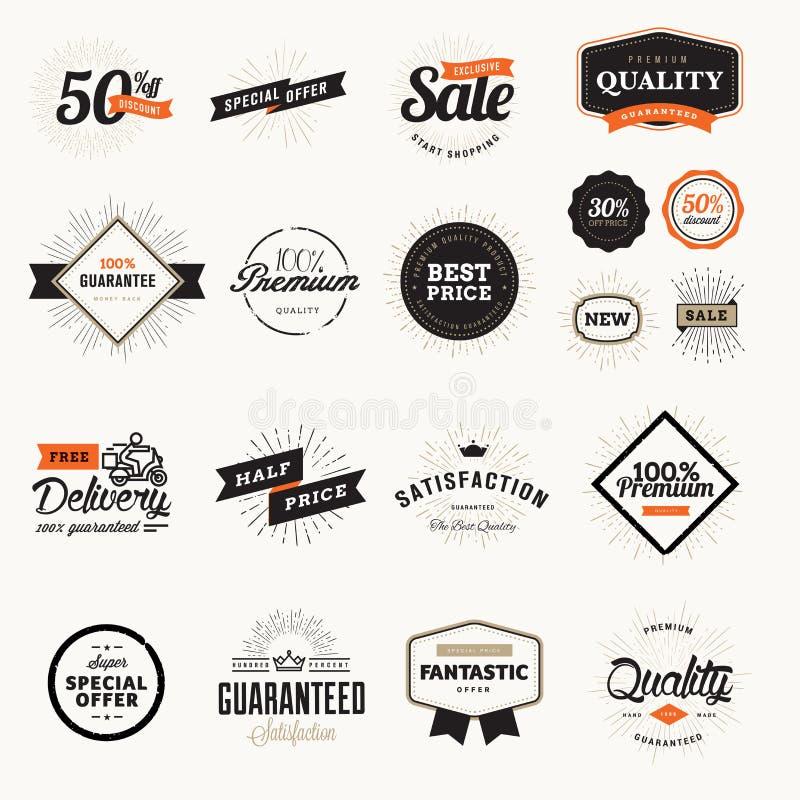 Sistema de insignias y de etiquetas engomadas superiores de la calidad del vintage libre illustration