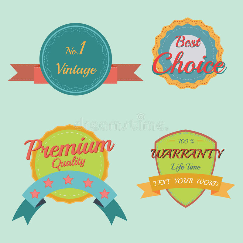 Sistema de insignias y de etiquetas retras del vintage stock de ilustración