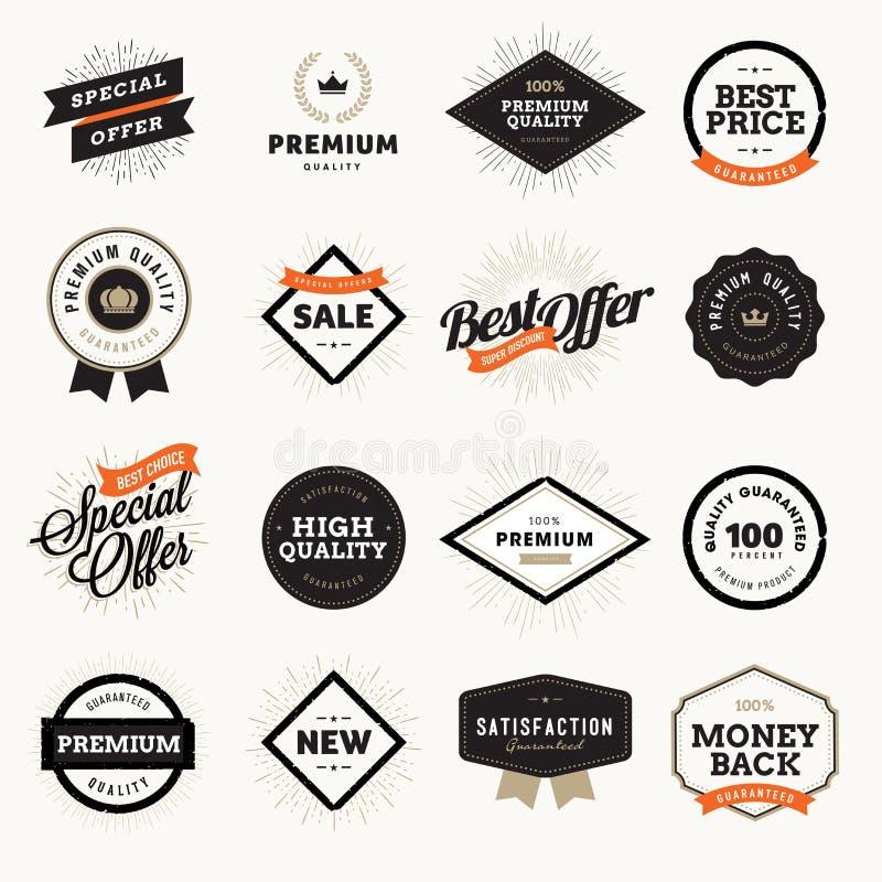 Sistema de insignias y de etiquetas superiores de la calidad del estilo del vintage para los diseñadores ilustración del vector