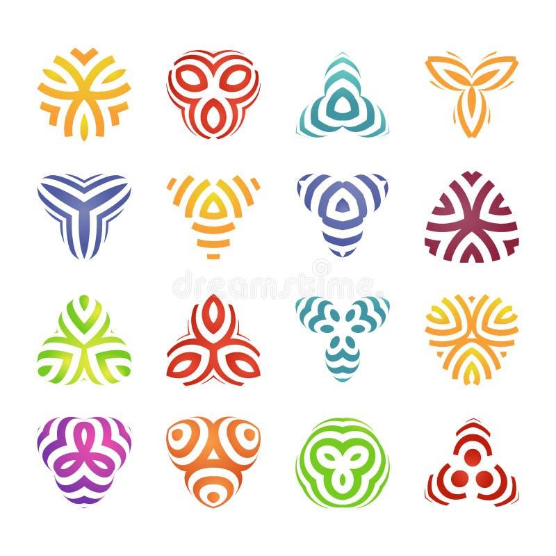 Sistema de insignias y de elementos de las etiquetas Formas geométricas coloridas del logotipo Diseño linear moderno libre illustration