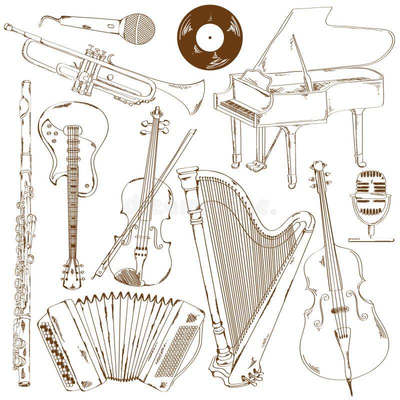 Sistema de instrumentos musicales aislados del bosquejo ilustración del vector