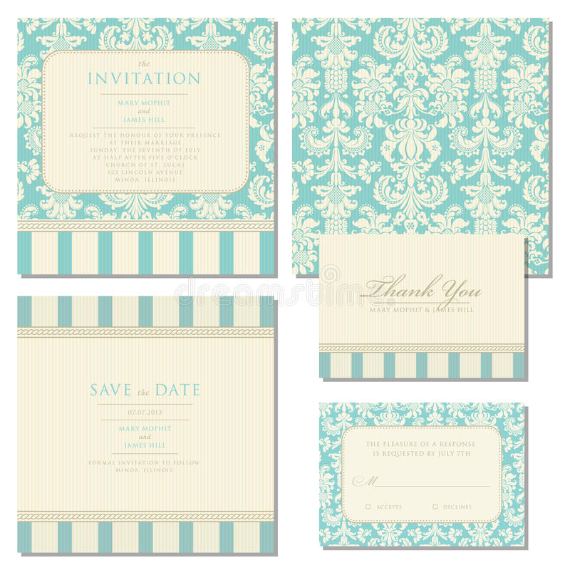 Sistema de invitaciones de la boda con el fondo del vintage ilustración del vector