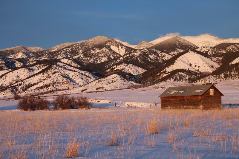 Sistema de irrigação do campo em Montana foto de stock royalty free