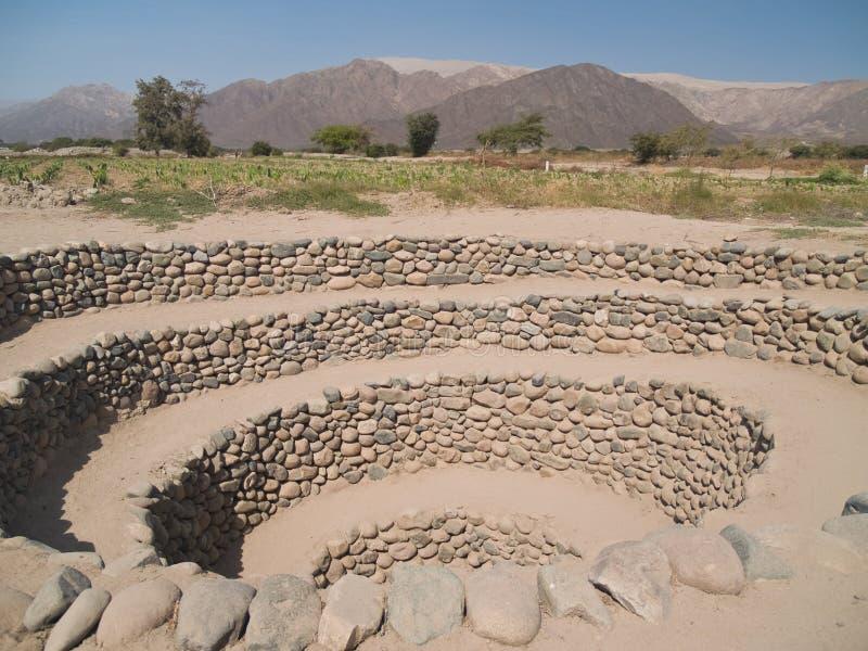 Sistema de irrigación antiguo de Nazca fotografía de archivo