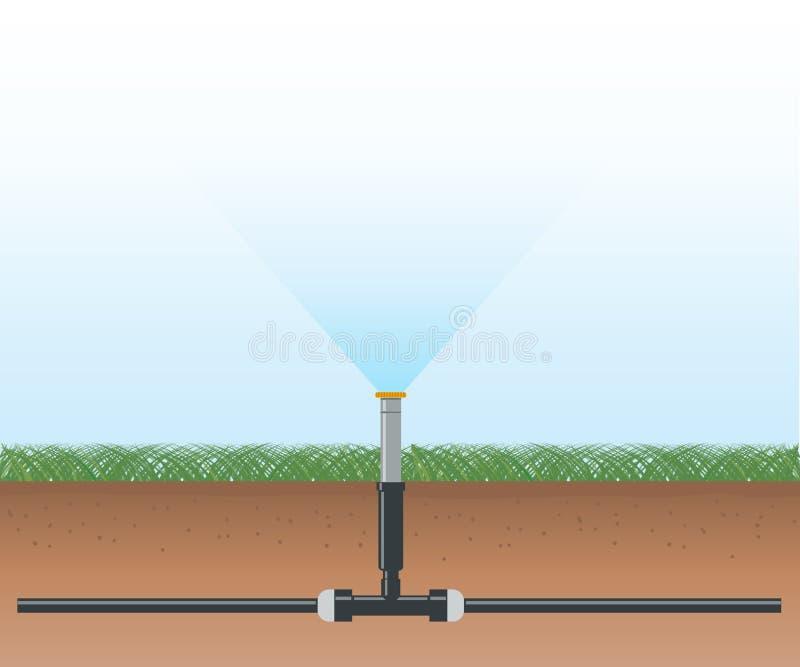 Sistema de irrigación automático del agua ilustración del vector
