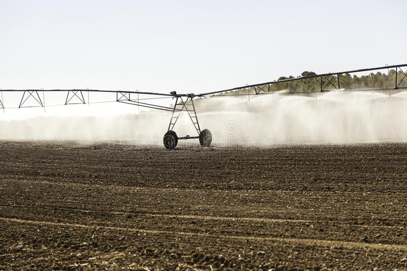 Sistema de irrigación automático en un campo de cereal fotografía de archivo