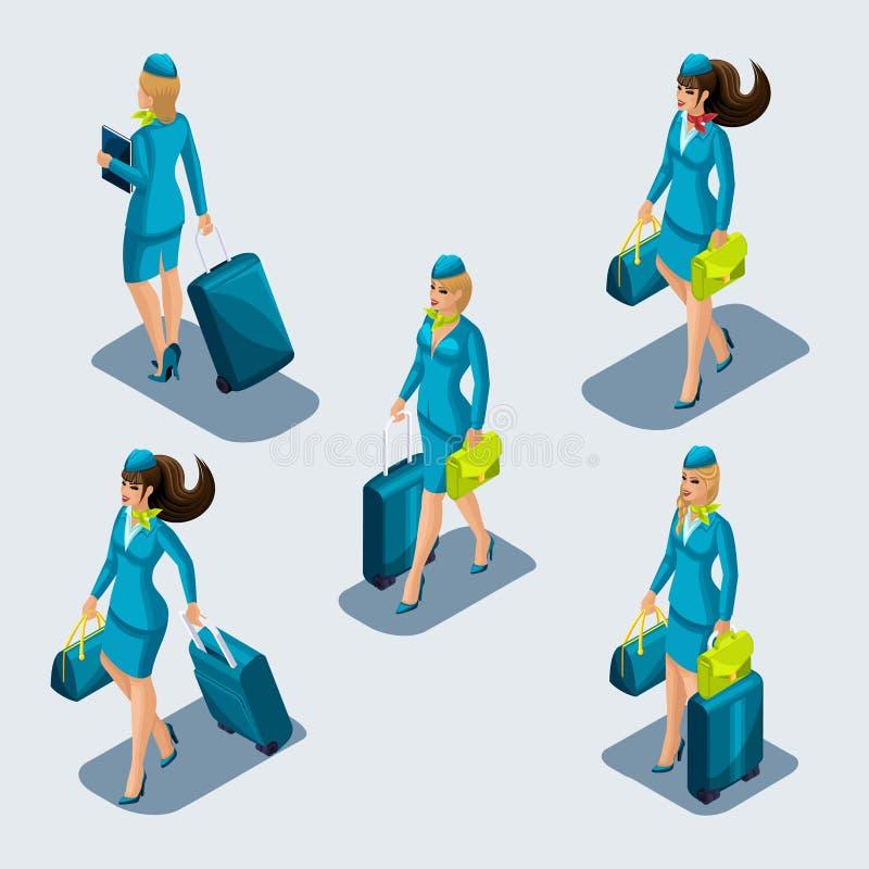 Sistema de Isometry de muchachas de la azafata en trajes estrictos hermosos, uniformes, maletas, dioses, bolsos, vista delantera  libre illustration