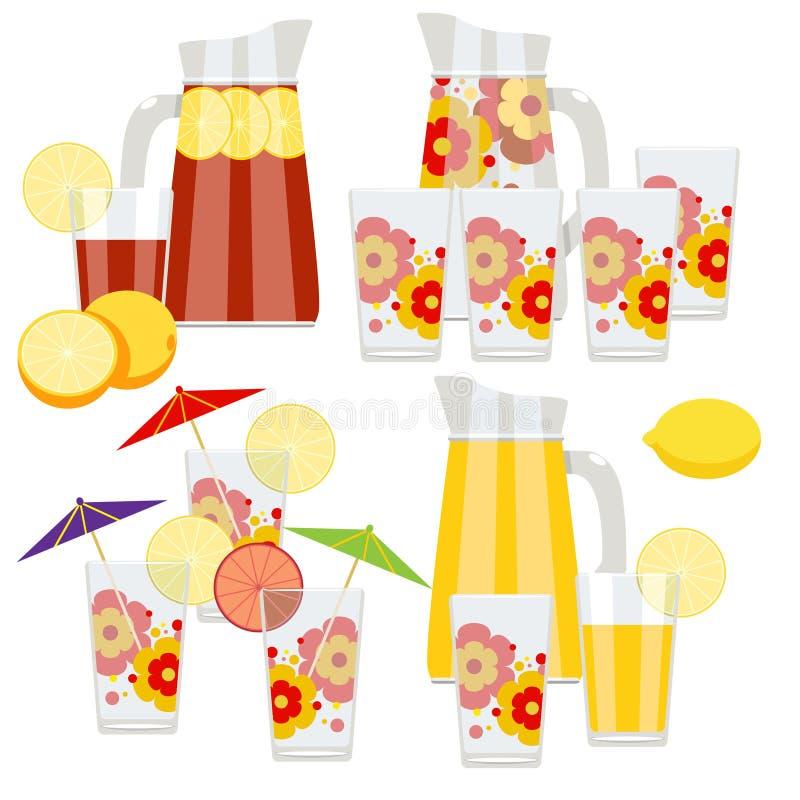 Sistema de jarra y de vidrios ilustración del vector