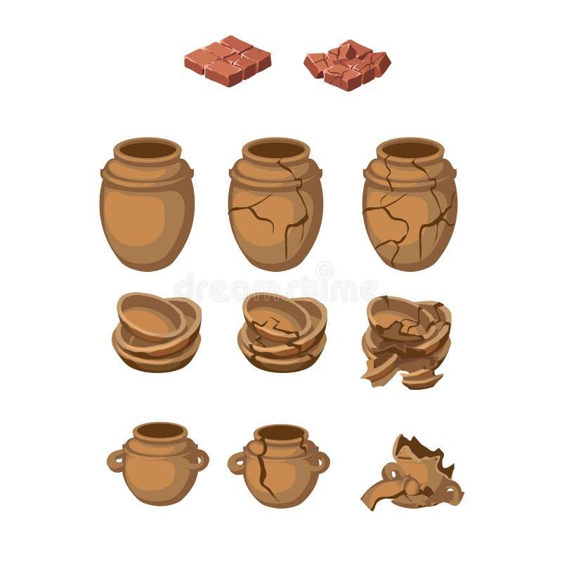 Sistema de jarros y de placas de la loza de barro, entero, rotos ilustración del vector