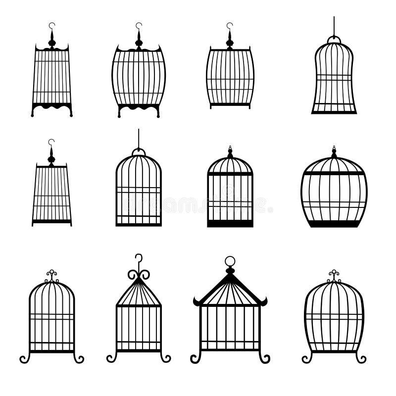 Sistema de jaulas de pájaros modernas editable stock de ilustración