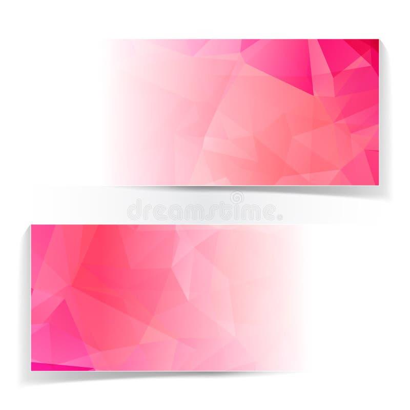 Sistema de jefes poligonales triangulares rosados abstractos stock de ilustración