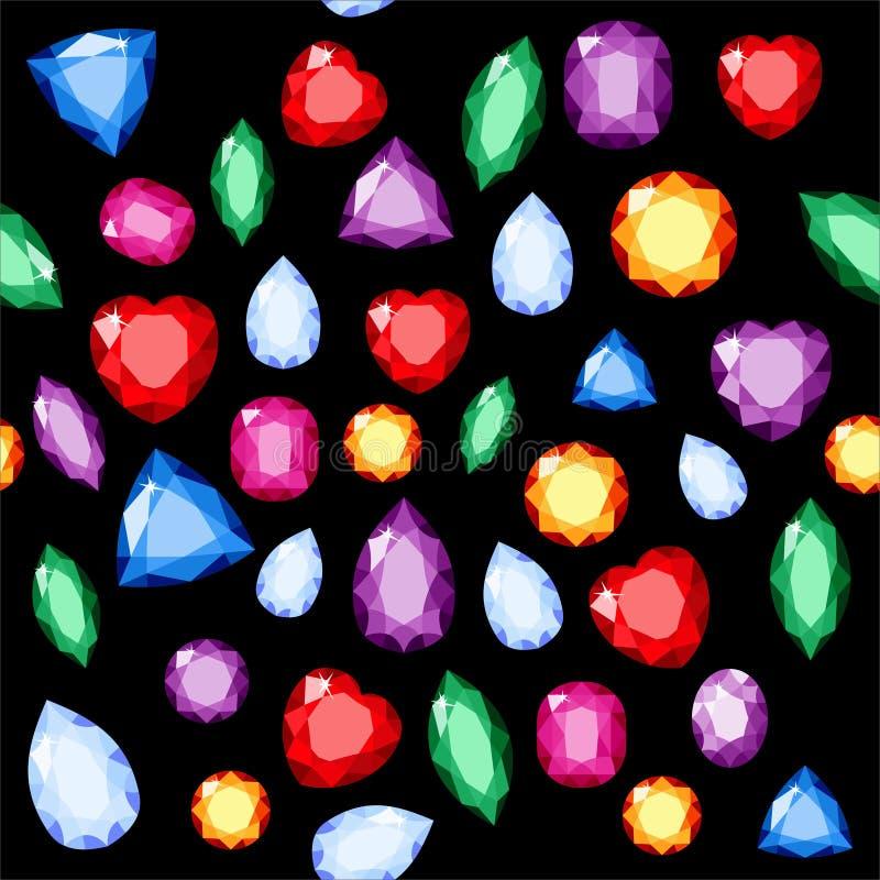 Sistema de joyas realistas Piedras preciosas coloridas ejemplo de la piedra preciosa de la trama ilustración del vector