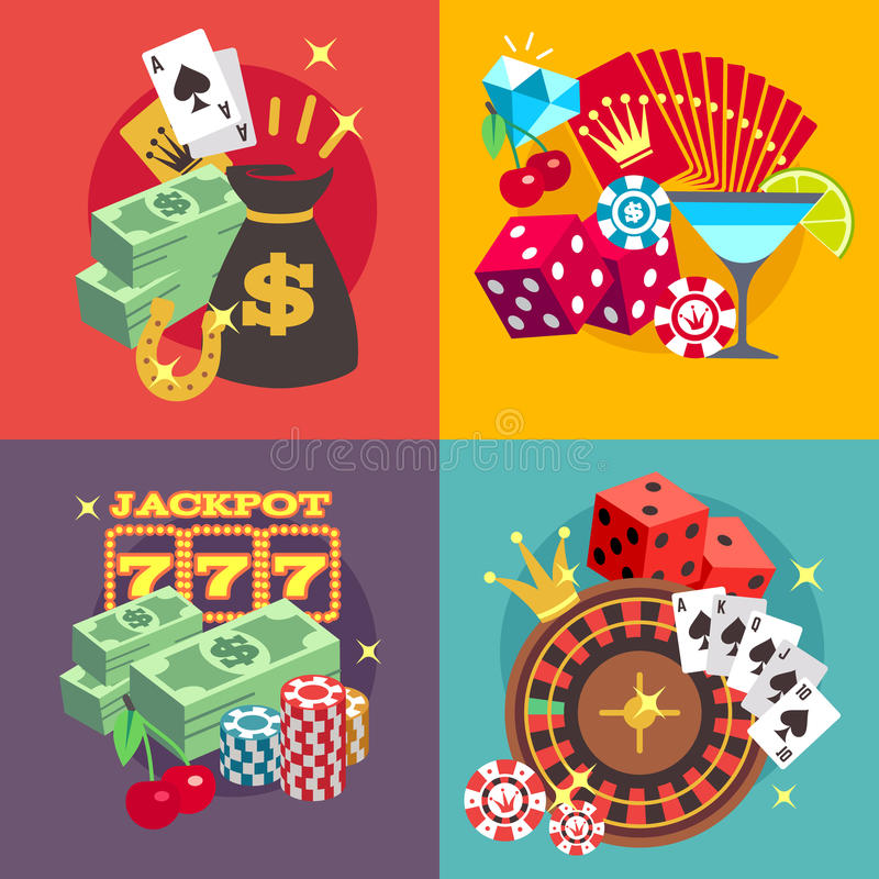 Sistema de juego del concepto del vector del casino con los iconos planos del bote del dinero del triunfo stock de ilustración