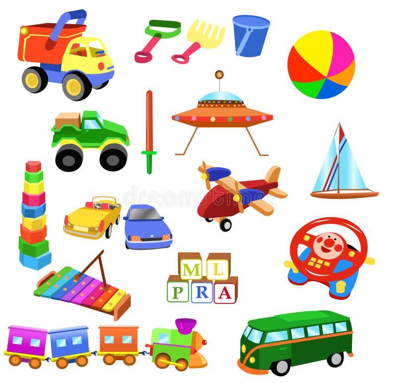 Sistema de juguetes stock de ilustración
