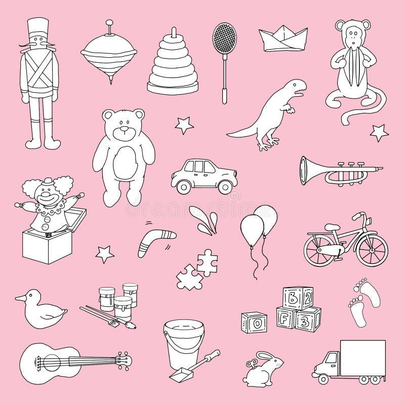 Sistema de juguetes dibujados mano stock de ilustración