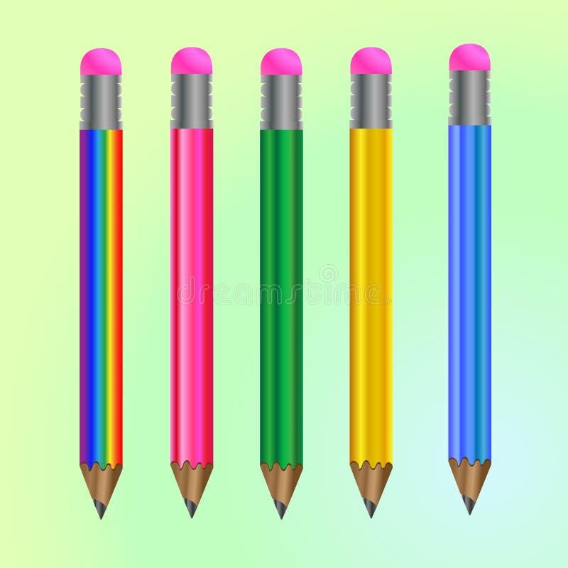 Sistema de lápices coloreados stock de ilustración
