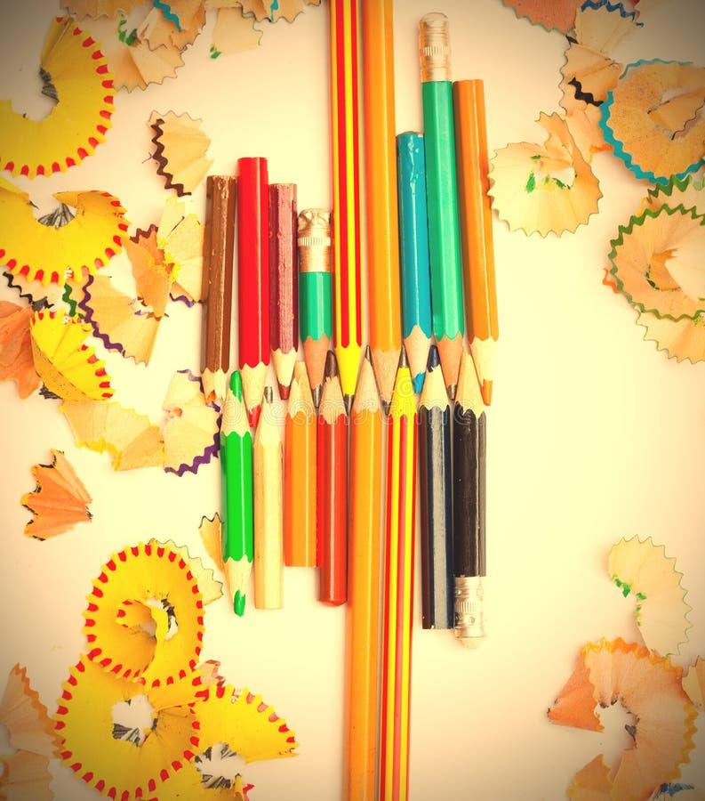 Sistema de lápices coloreados imagen de archivo libre de regalías