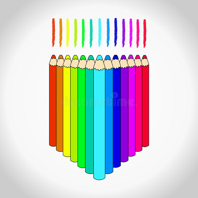 Sistema de lápices coloreados ilustración del vector