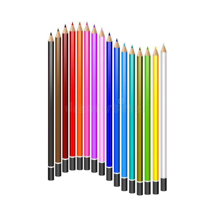 Sistema de lápices coloreados ejemplo realista del vector stock de ilustración