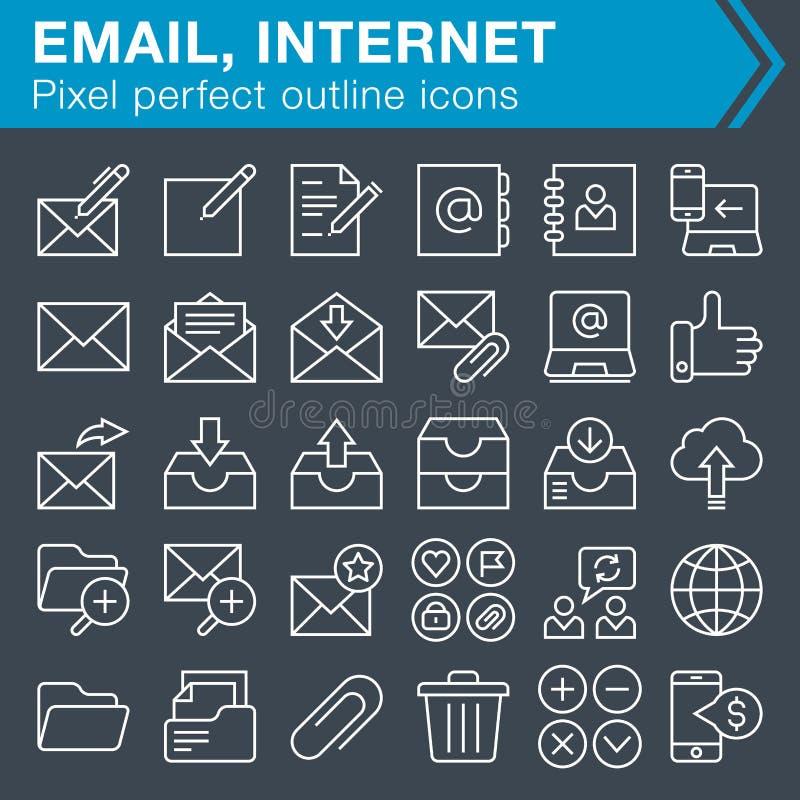 Sistema de línea fina correo electrónico y de iconos de Internet ilustración del vector