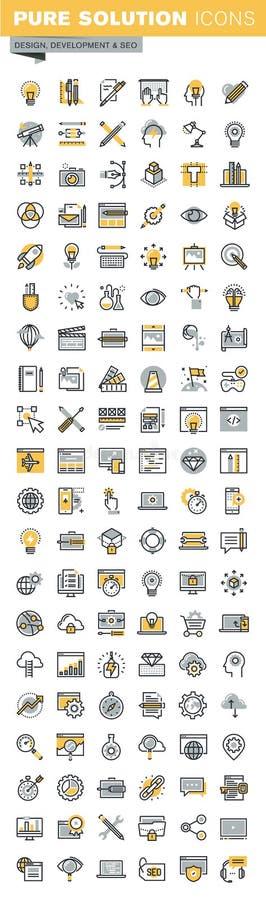 Sistema de línea fina diseño del vector moderno y de iconos del desarrollo del sitio web stock de ilustración