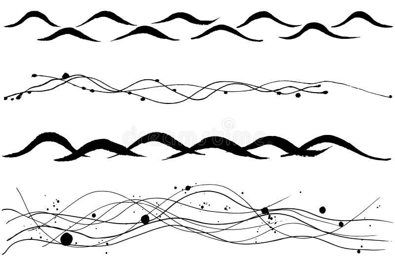 Sistema de líneas de la onda Espray de mar libre illustration