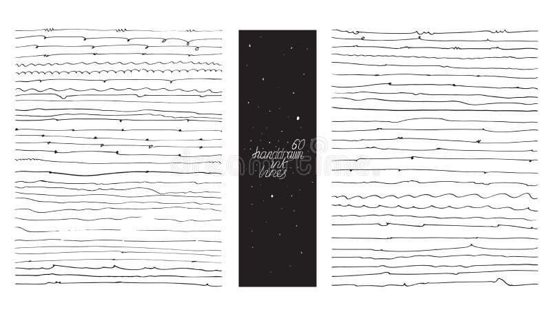 Sistema de 60 líneas finas, hecho con la mano y la tinta, a pulso, ornated, con los lazos, los flourishes, gotas de la semilla Il libre illustration