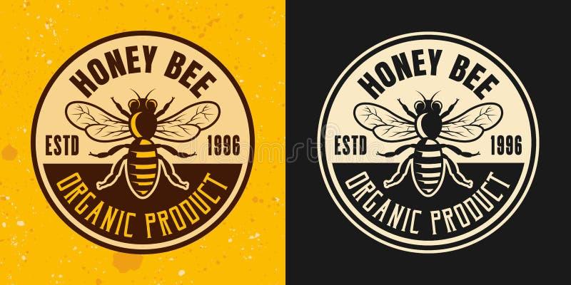 Sistema de la abeja de la miel del emblema coloreado del vector de dos estilos stock de ilustración