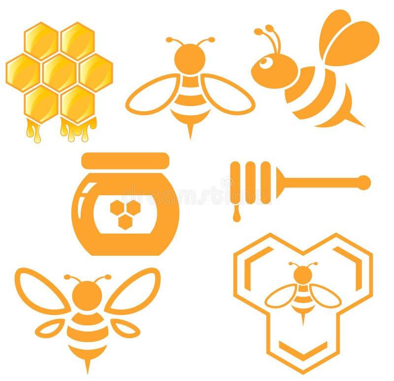Sistema de la abeja y de la miel ilustración del vector
