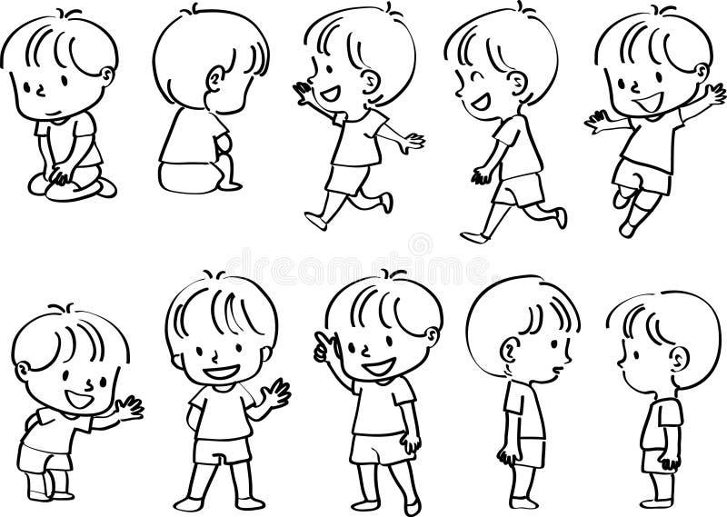 Sistema de la acción del muchacho del dibujo del vector stock de ilustración