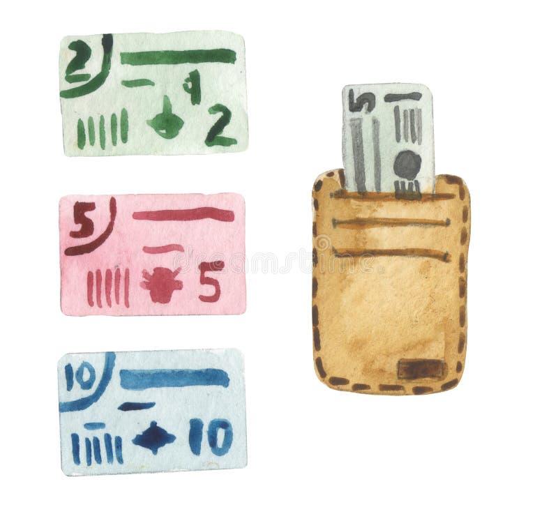Sistema de la acuarela de billetes de banco ficticios y una cartera con un departamento para las tarjetas de crédito stock de ilustración