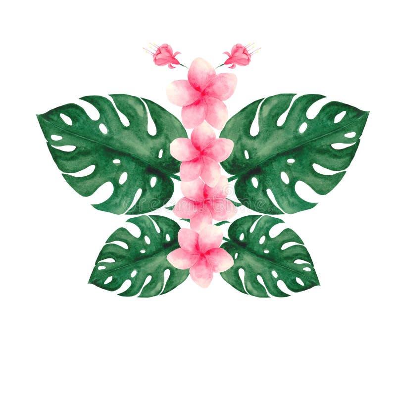 Sistema de la acuarela con las hojas y las flores tropicales stock de ilustración