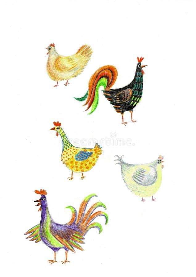 Sistema de la acuarela de cuatro pollos exhaustos de la mano Ejemplo de la acuarela de la granja de pollo Ideal para su diseño Es ilustración del vector