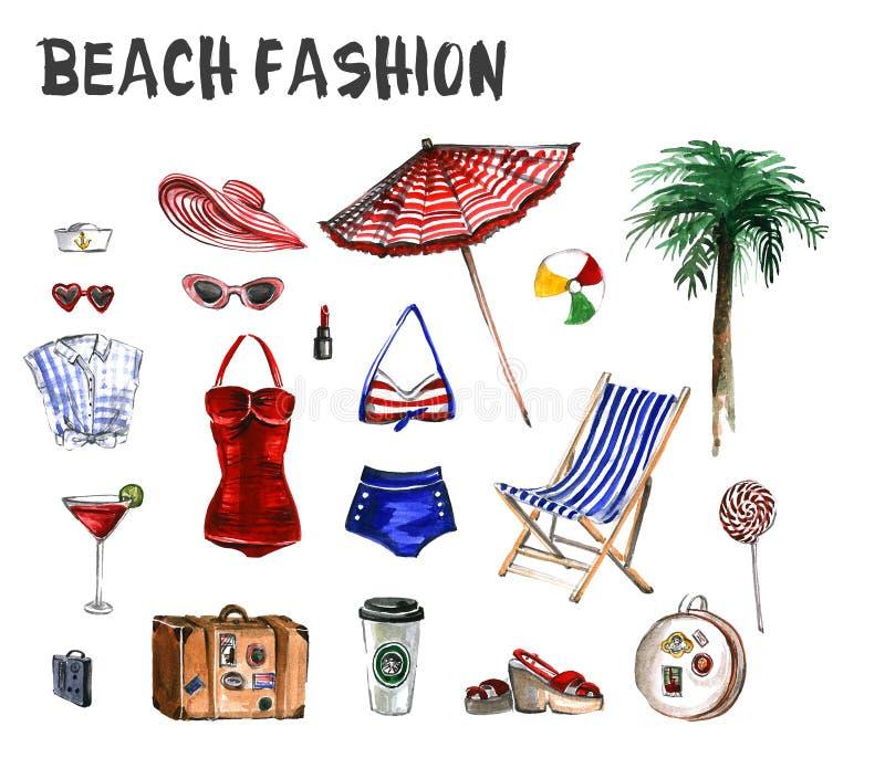 Sistema de la acuarela de iconos de la moda de la playa ilustración del vector