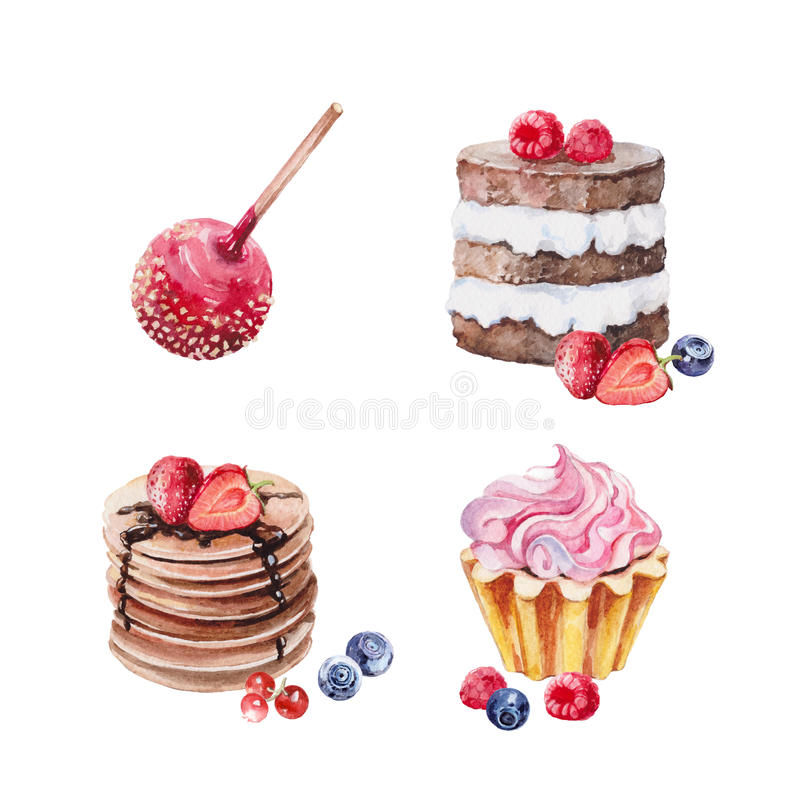 Sistema de la acuarela de la torta de los postres stock de ilustración