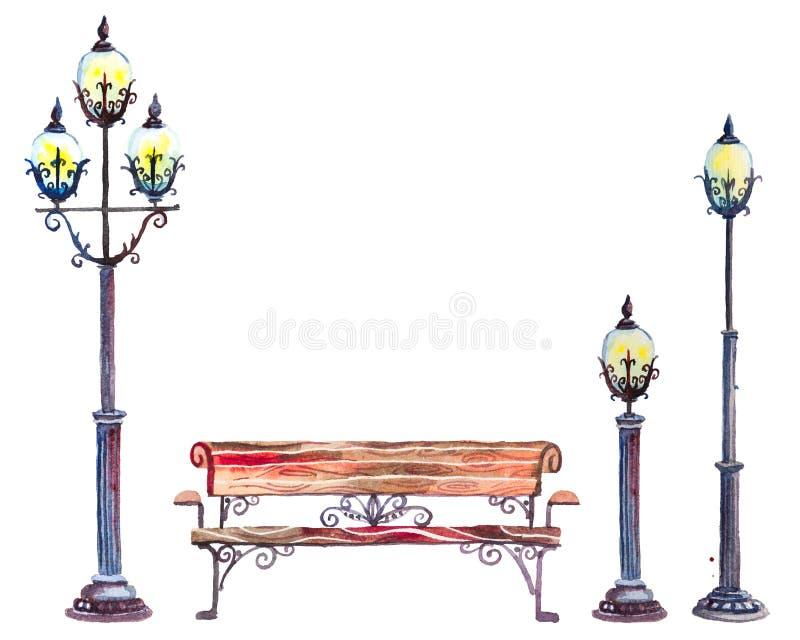 Sistema de la acuarela de las linternas y del banco de la calle ilustración del vector