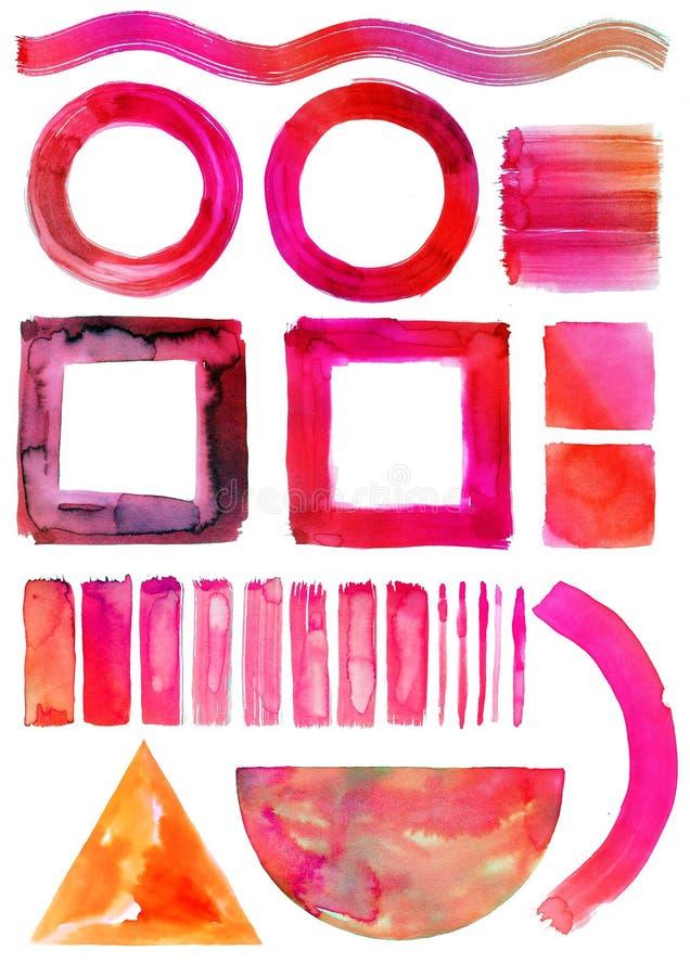 Sistema de la acuarela de los círculos aislados, cuadrados, triángulo, rayas, líneas Arte de la acuarela de la pintura de la mano stock de ilustración