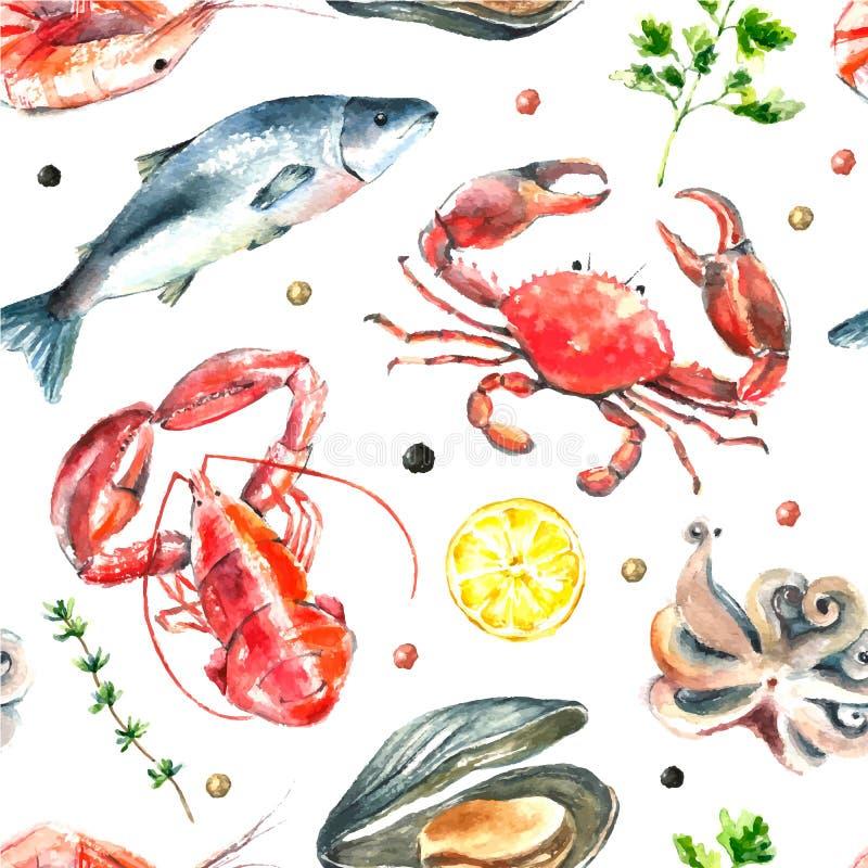 Sistema de la acuarela de los mariscos libre illustration