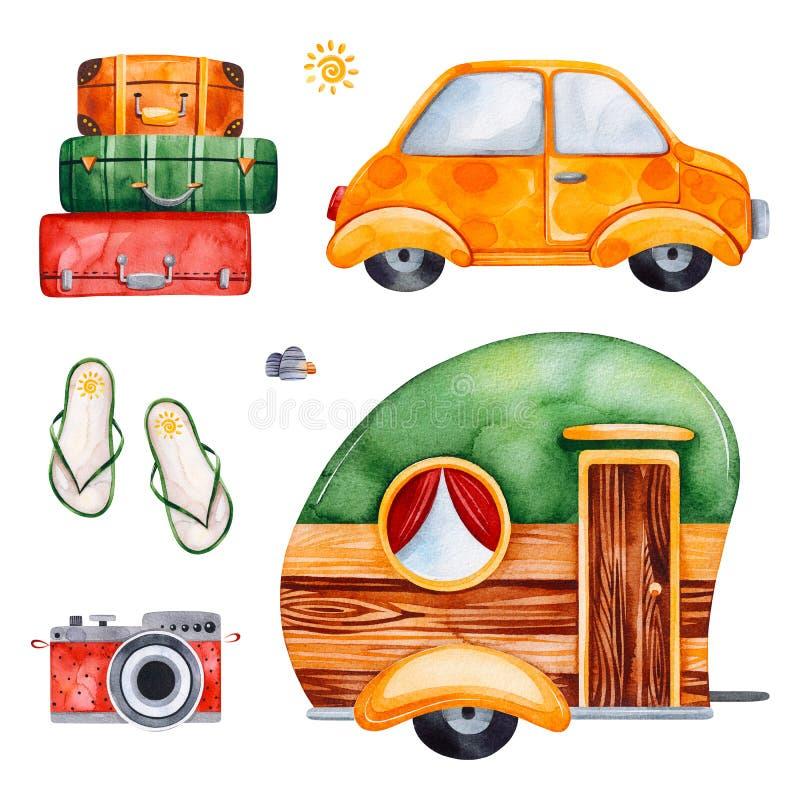 Sistema de la acuarela del viaje con el coche amarillo, cámara, chancleta stock de ilustración