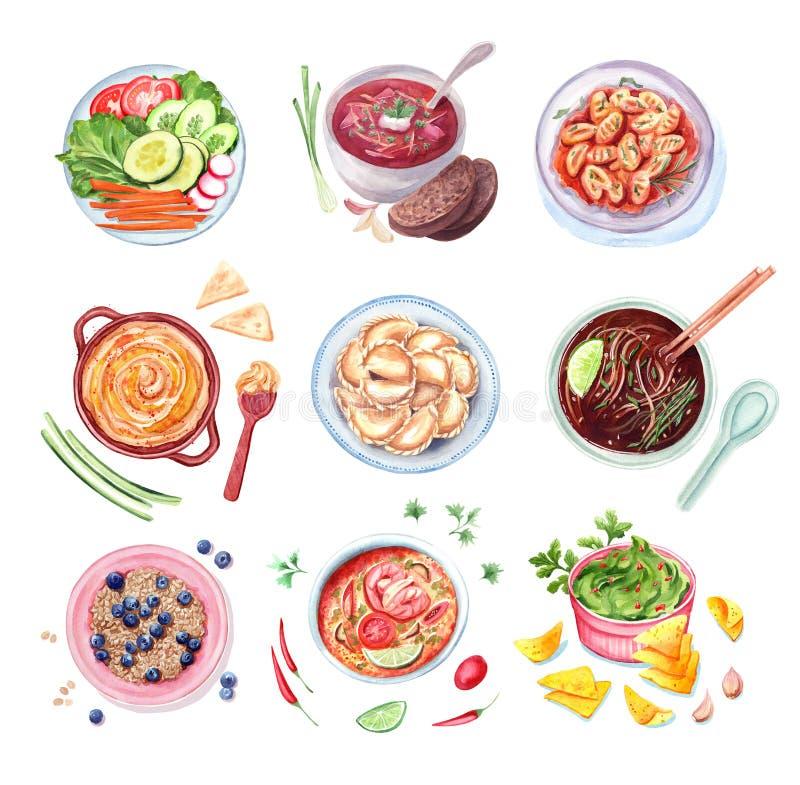 Sistema de la acuarela de diversos platos stock de ilustración