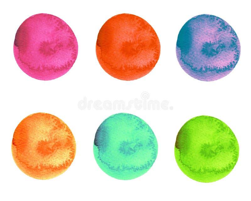 Sistema de la acuarela de movimientos multicolores brillantes del cepillo de la forma redonda stock de ilustración