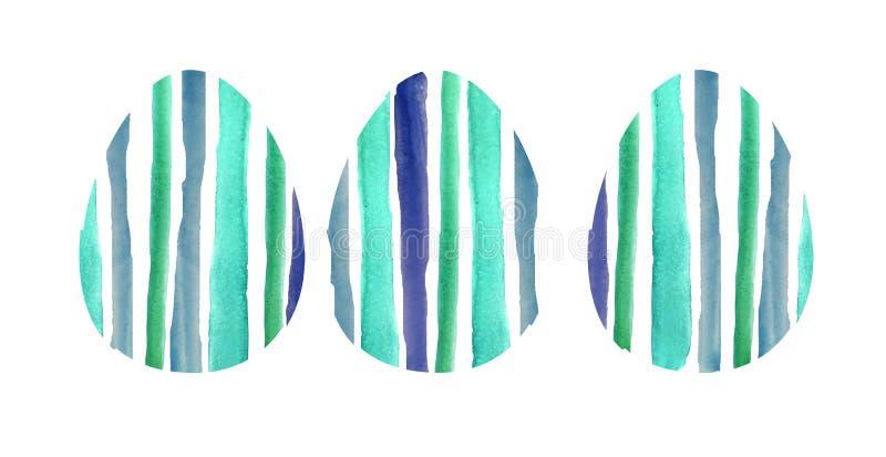 Sistema de la acuarela de tres huevos texturizados azules libre illustration
