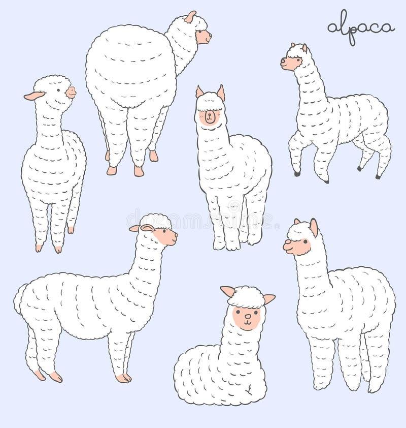 Sistema de la alpaca ilustración del vector