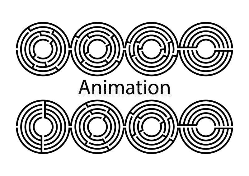 Sistema de la animación de Maze Vector Llave bloqueo Círculo de Labyrint eps8 libre illustration