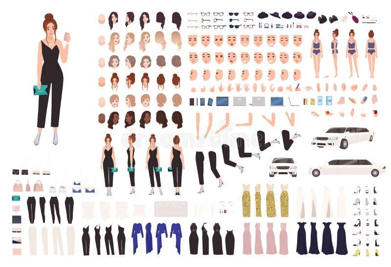 Sistema de la animación de la mujer joven o equipo elegante del constructor Colección de partes del cuerpo, gestos, posturas, rop ilustración del vector