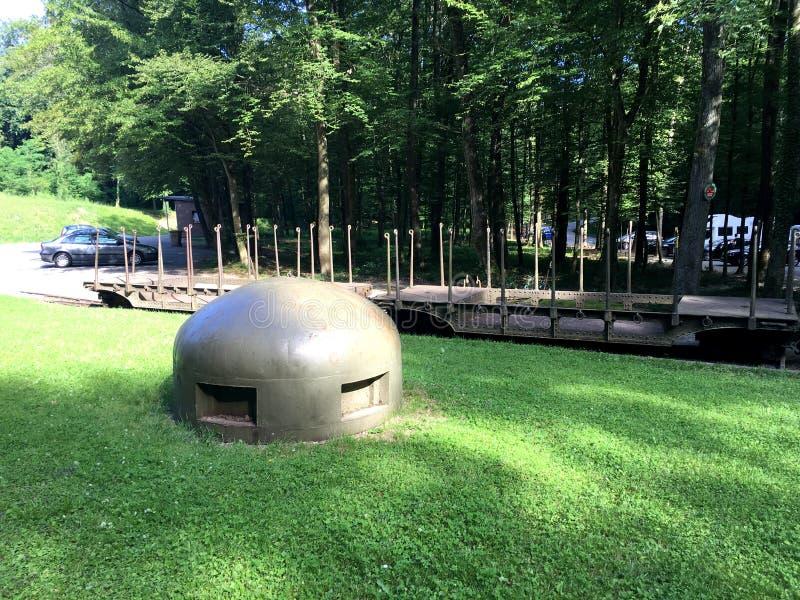 Sistema de la arcón de Schoenenbourg del fuerte en la línea de Maginot Ouvrage Schoenenbourg Alsacia Franceen 2016 imagen de archivo libre de regalías