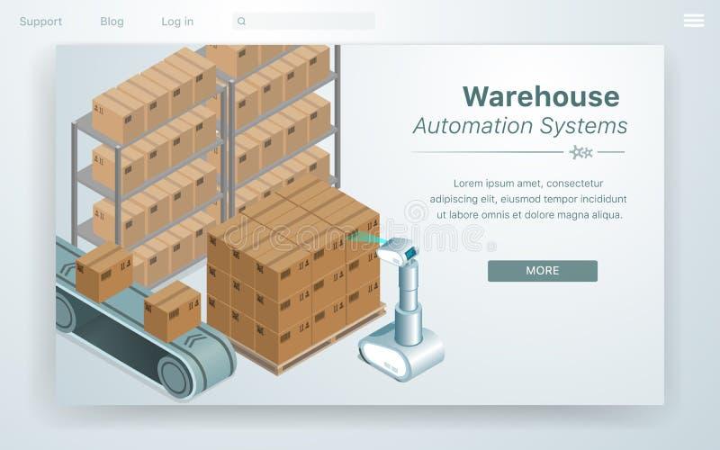 Sistema de la automatizaci?n de Warehouse del ejemplo del vector stock de ilustración