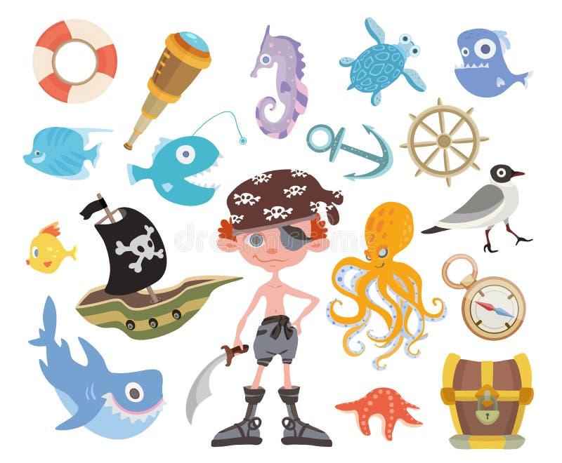 Sistema de la aventura del mar Pirata tuerto con una espada, el cofre del tesoro, el tiburón, el pulpo y otros artículos del pira ilustración del vector
