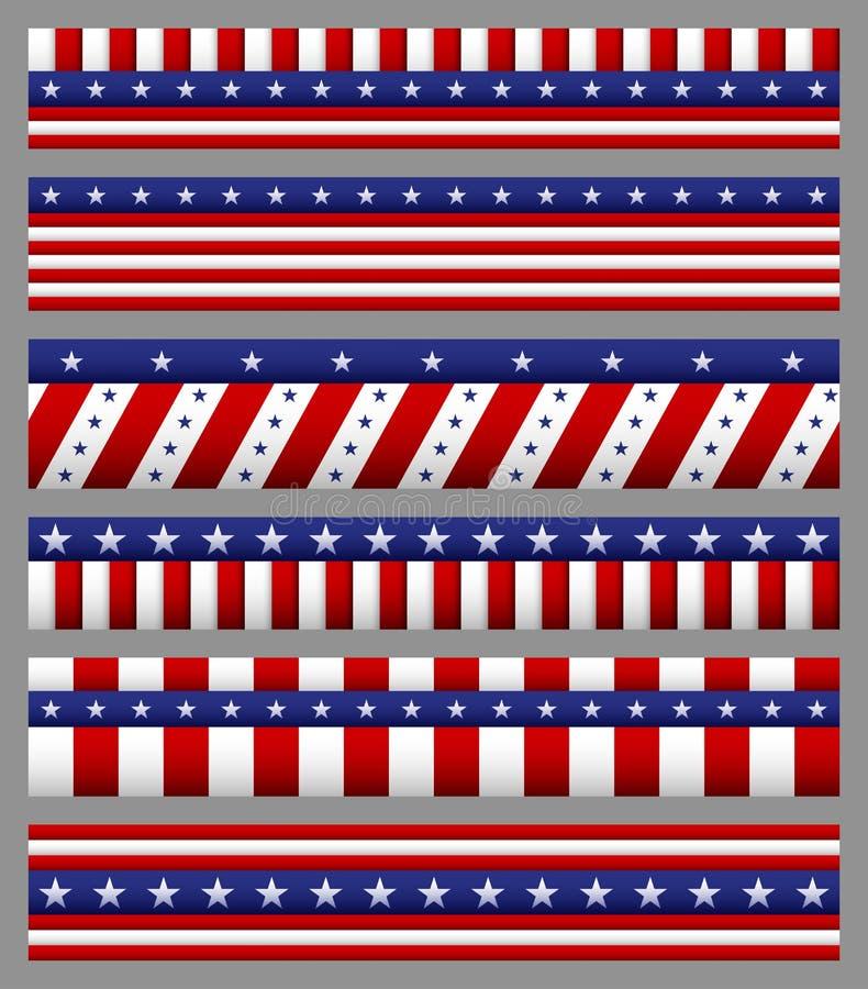 Sistema de la bandera americana con los modelos de barras y estrellas Día de la Independencia de los E.E.U.U. festivo stock de ilustración